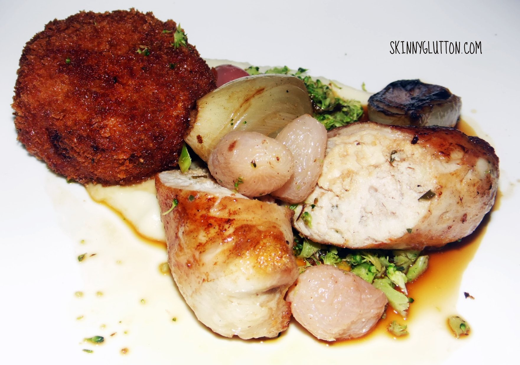 Rabbit, croquette, grape and onion