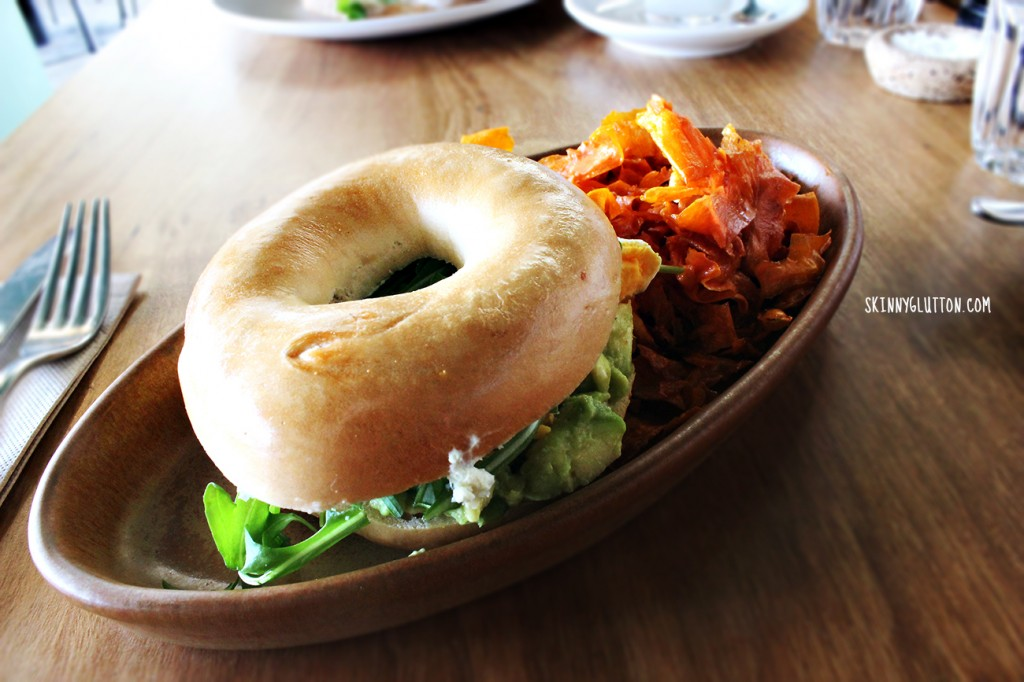 Filled Bagel with Avocado, egg, dill, herbed cream cheese, rocket (v)($12)